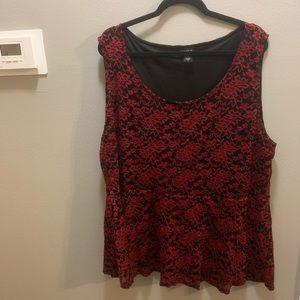 torrid Tops - Torrid Red Lace Sleeveless Peplum Top